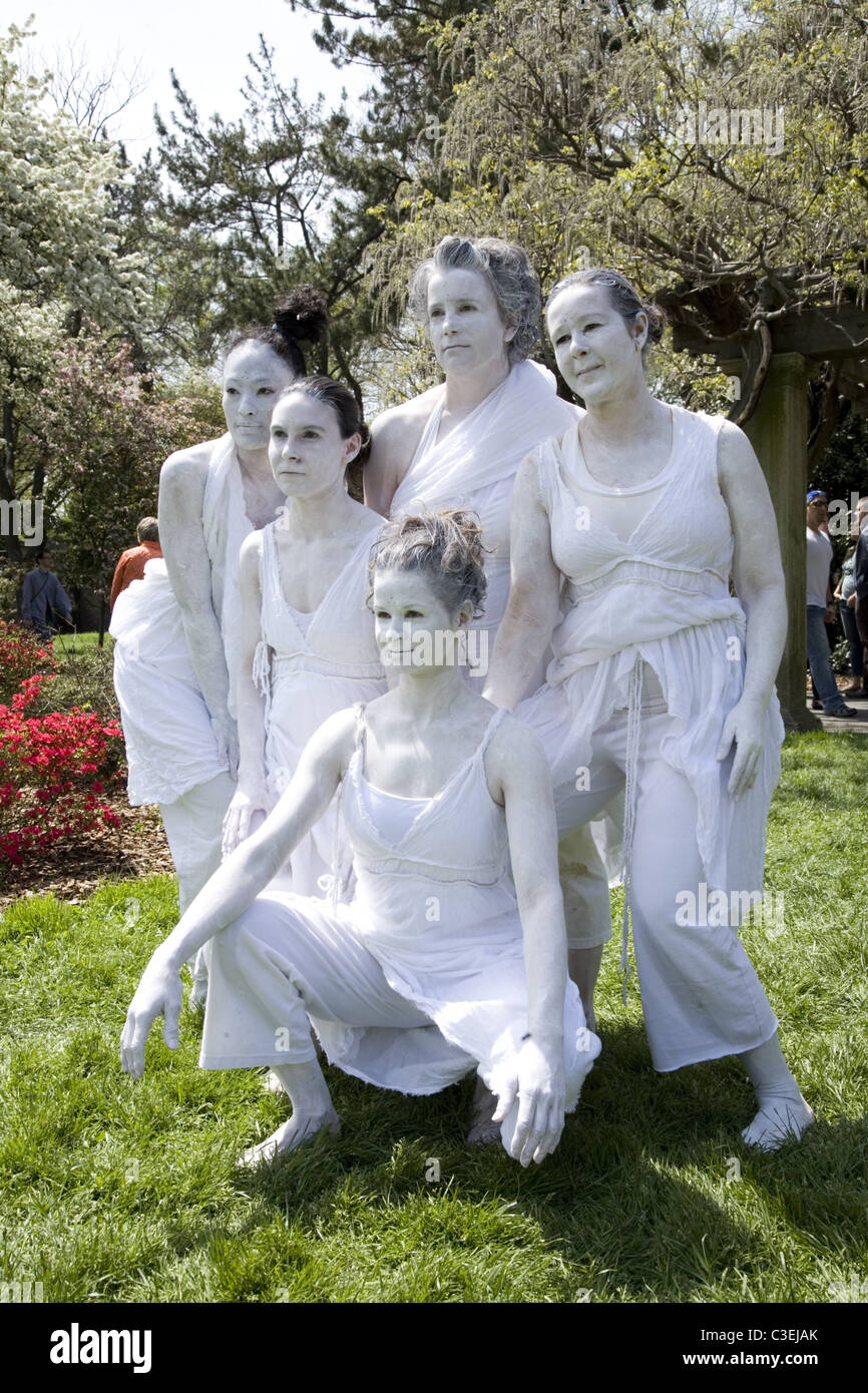 Performance Artist/Dance group at the Cherry Blossom Festival at the Brooklyn Botanic Garden. - Stock Image