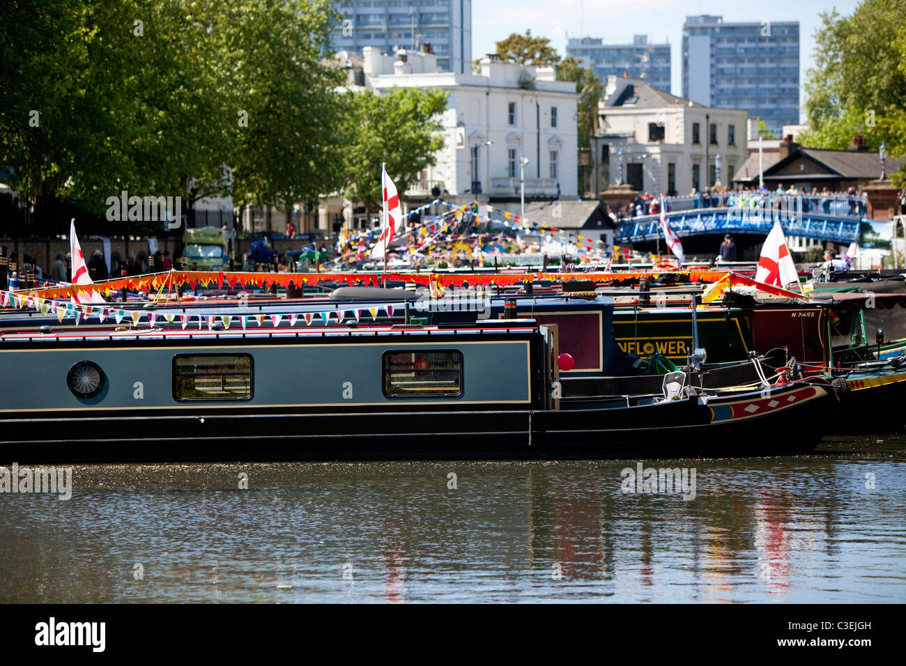 Narrowboats on Regent's Canal at Little Venice, London, England, UK - Stock Image