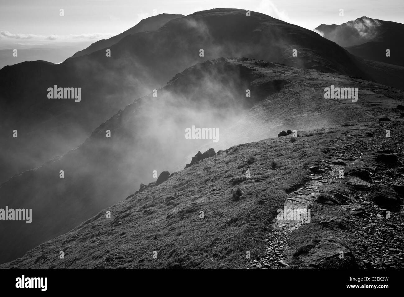 Low mist in Levers Hawse, looking back towards the Old Man of Coniston, near Coniston, lake District, Cumbria - Stock Image
