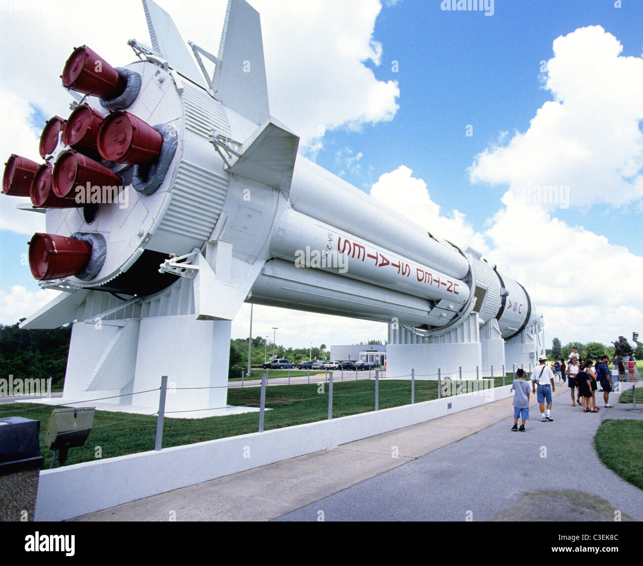 A Saturn 1B rocket in the NASA Rocket Garden at the Kennedy Space Center Centre in Florida - Stock Image