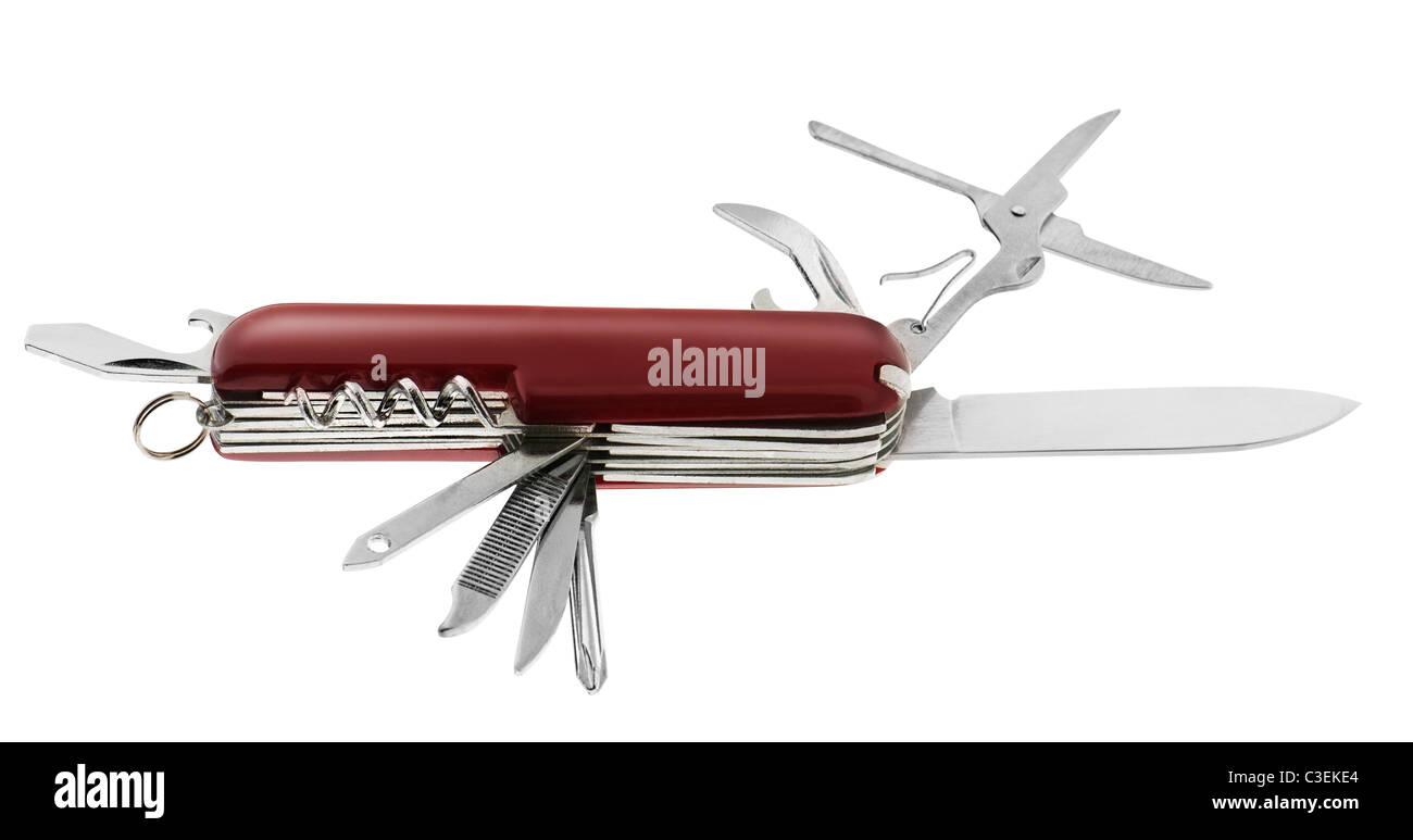 Swiss army knife. Isolated on white background - Stock Image