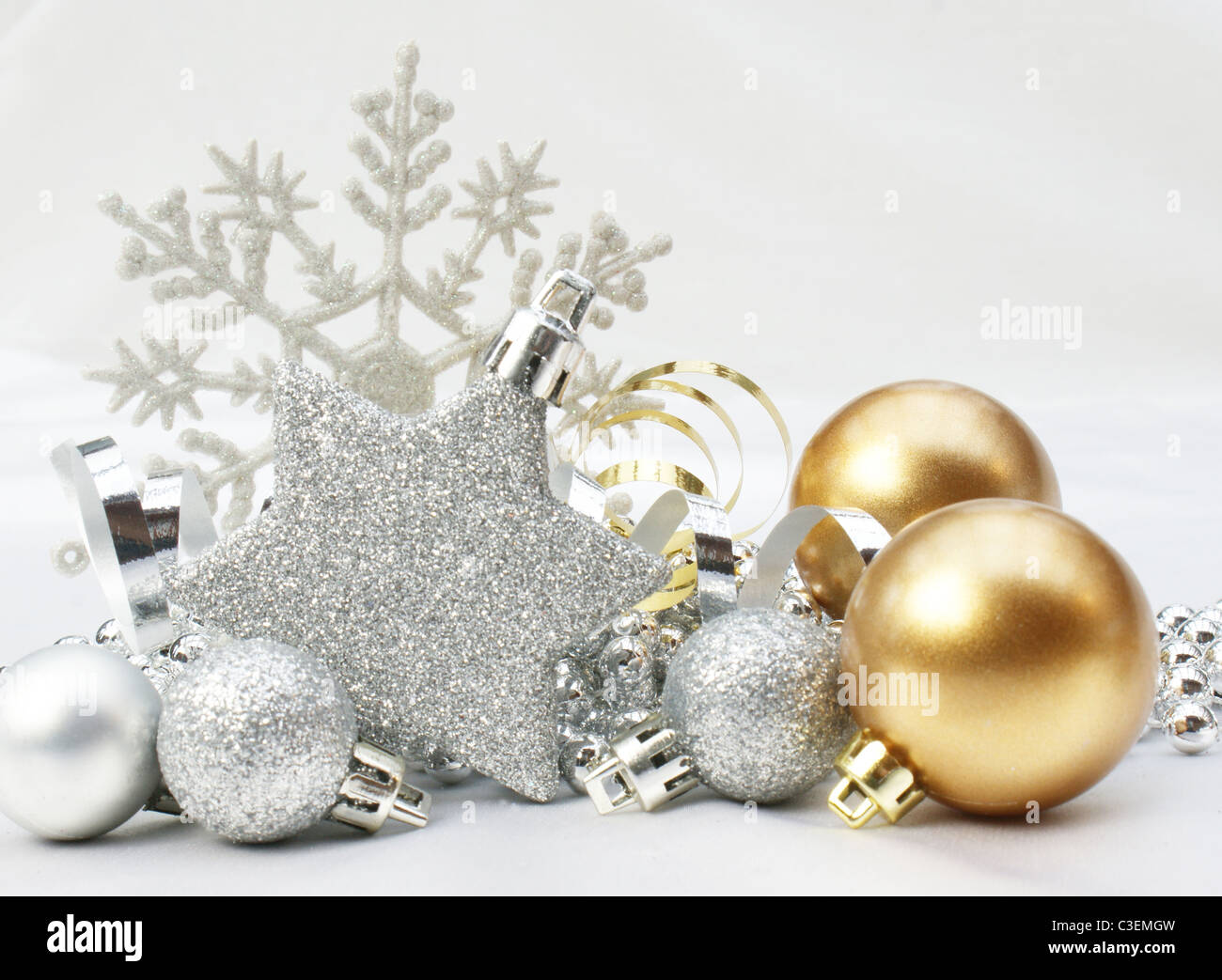 christmas background with gold and silver decorations