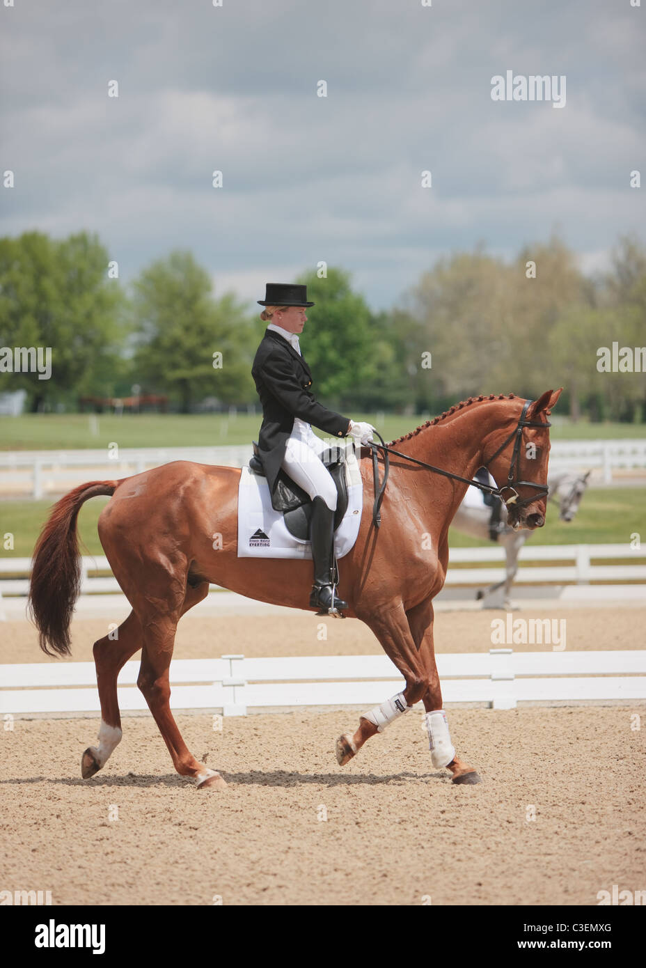 Preparing for the dressage competition at the Rolex Three Day Eventing competition in Lexington, Kentucky. - Stock Image