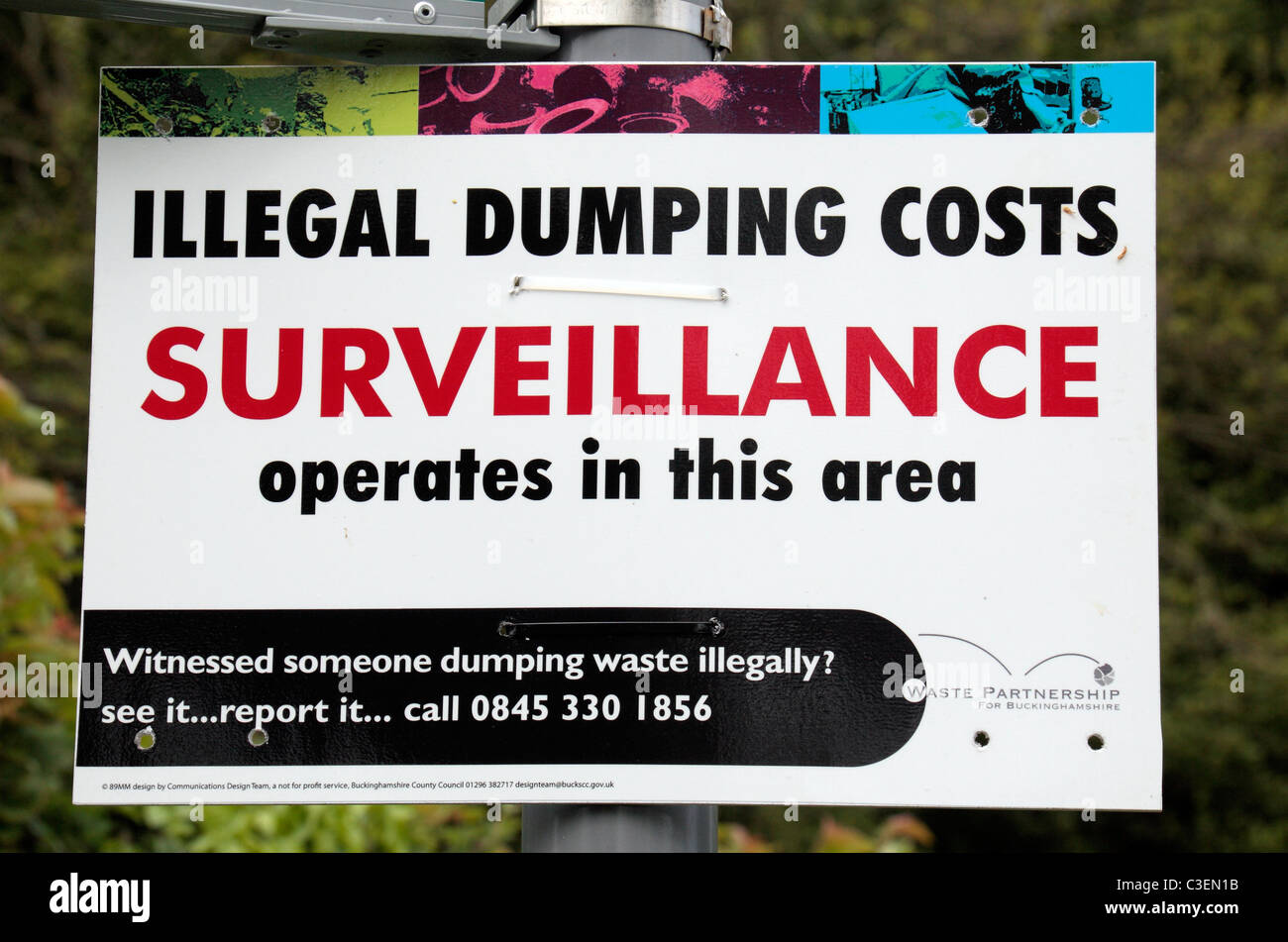 A British sign warning fly tippers that an area is under surveillance and that dumping is illegal.  Near Wendover, - Stock Image