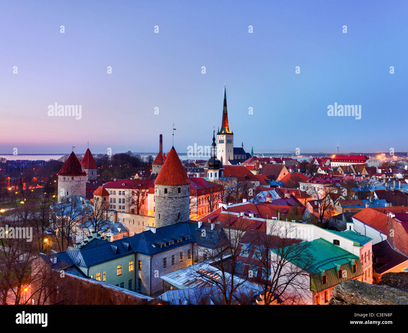 Capital of Estonia, Tallinn is famous for its World Heritage old town walls and cobbled streets. The old town is - Stock Image