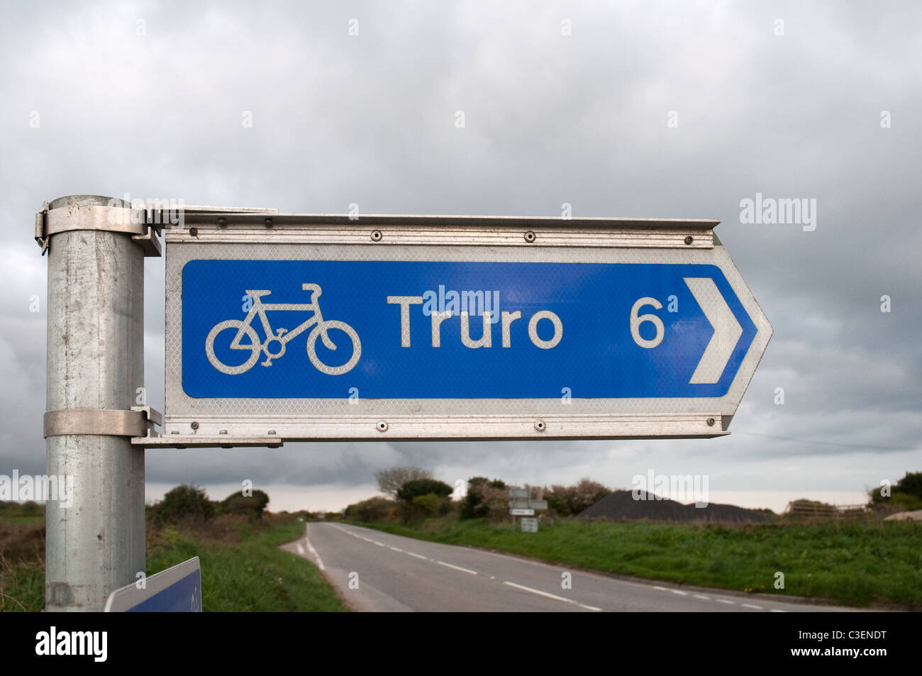 A cycle way marker sing near Truro in Cornwall, UK - Stock Image