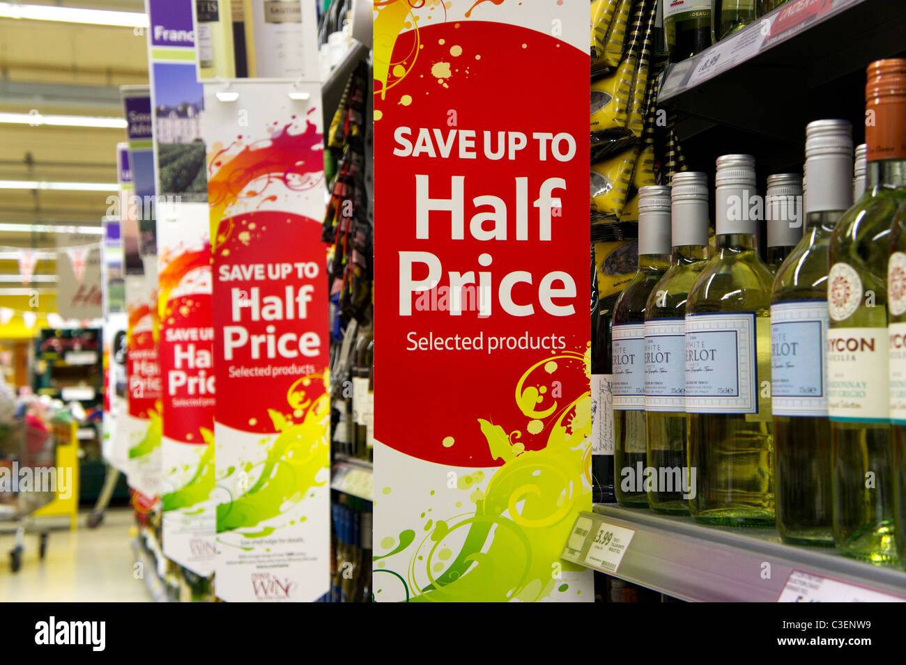 Half price wine offer in a UK supermarket - Stock Image