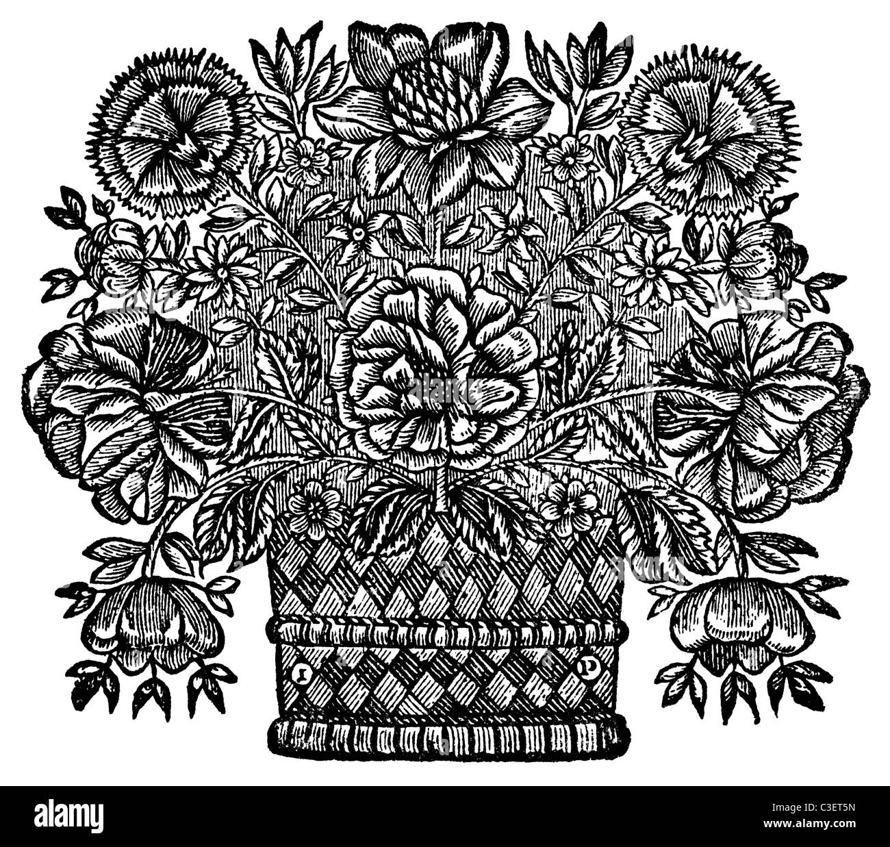 Medieval woodcut of flower basket - Stock Image