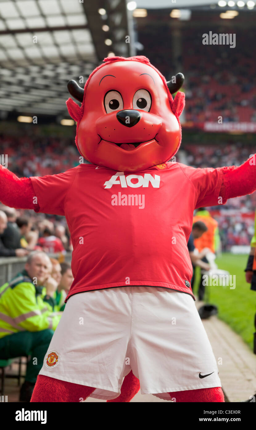 Mascot at Old Trafford football ground, Manchester, England - Stock Image