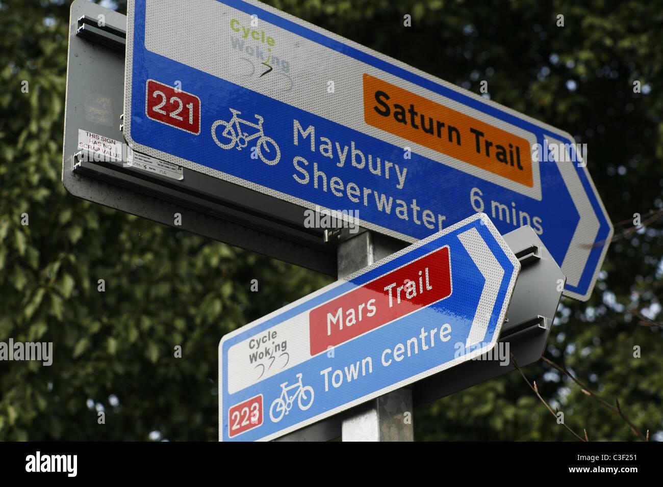 Cycle way signpost Mars Saturn trail Woking Surrey England - Stock Image