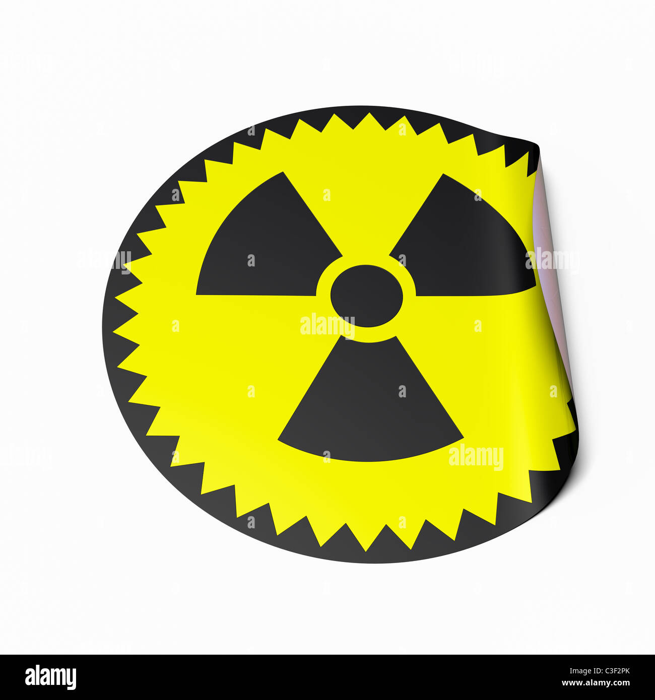 High resolution image of a sticker with radioactive symbol. Conceptual image for nuclear power or nuclear risk. - Stock Image