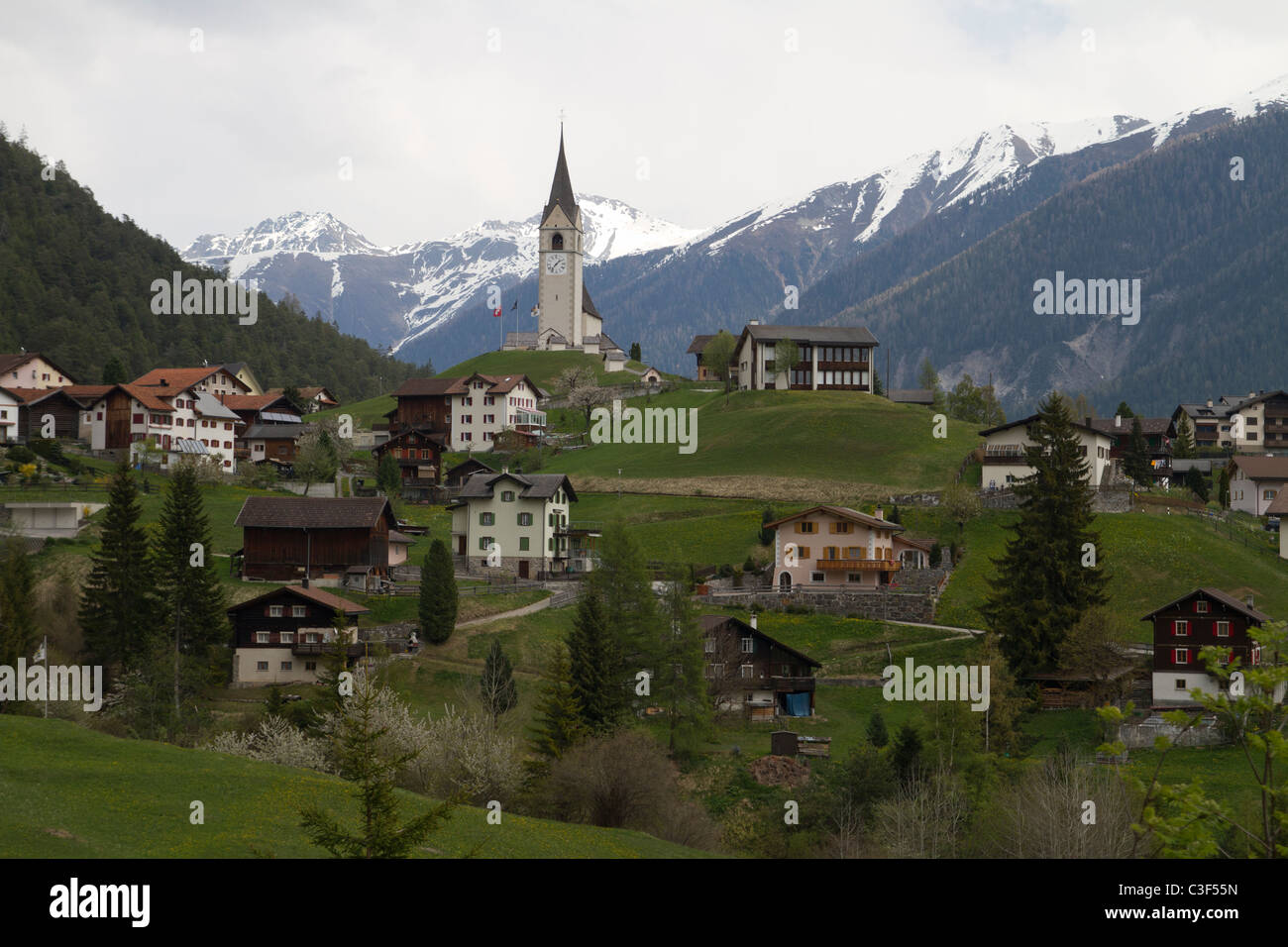 Village in Graubünden Stock Photo