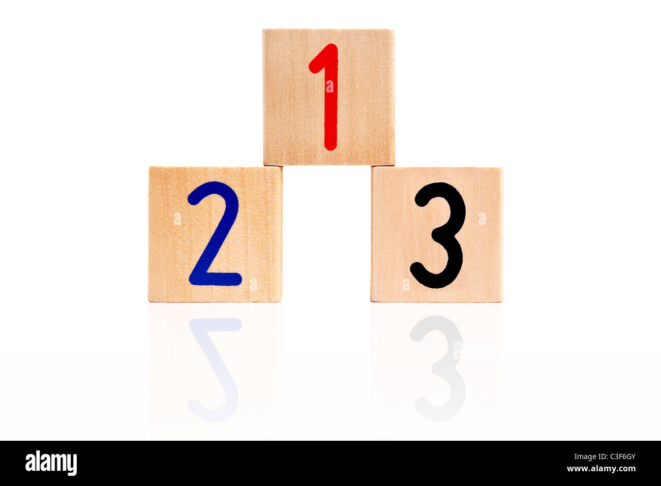 number 123 from letter wooden blocks as a podium - Stock Image