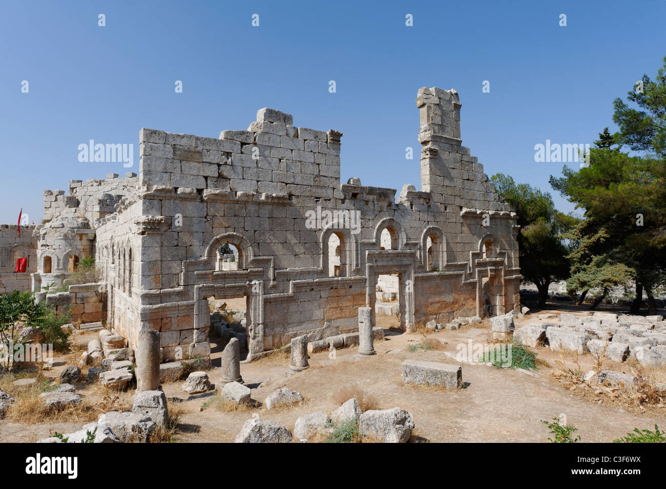 St Simeon. Syria. View of facade of the northern basilica of the Church of Saint Simeon. - Stock Image
