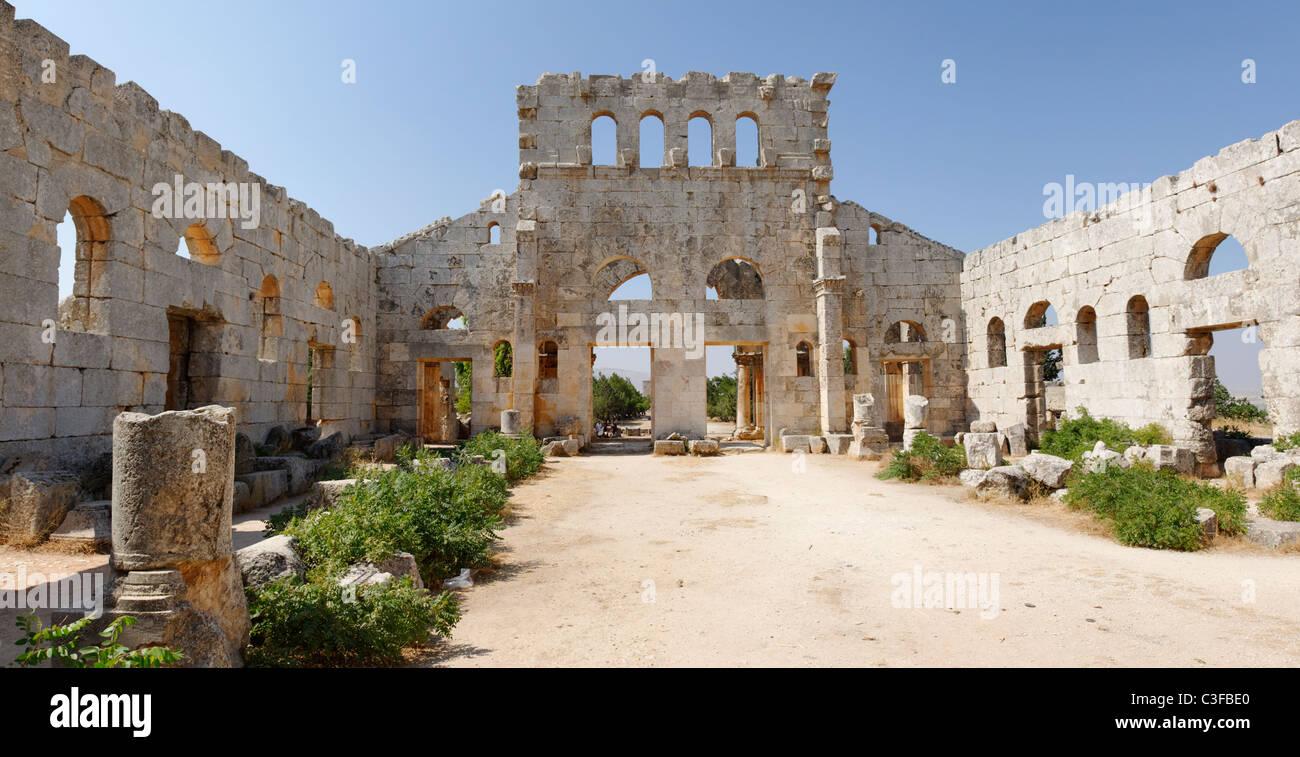 St Simeon. Syria. View of the southern Basilica of the Church of Saint Simeon. - Stock Image