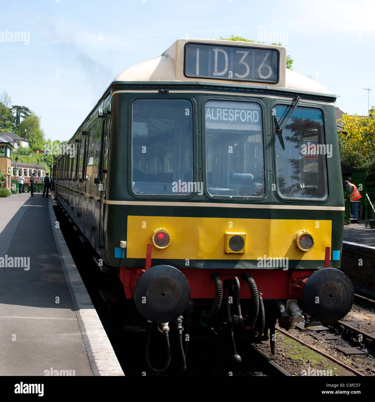 Vintage DMU Diesel unit at Alresford Railway Station, (Mid Hants Railway), Alresford, Hampshire, England, UK. - Stock Image
