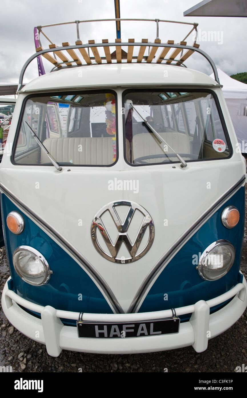 Restored classic VW minibus camper van - Stock Image