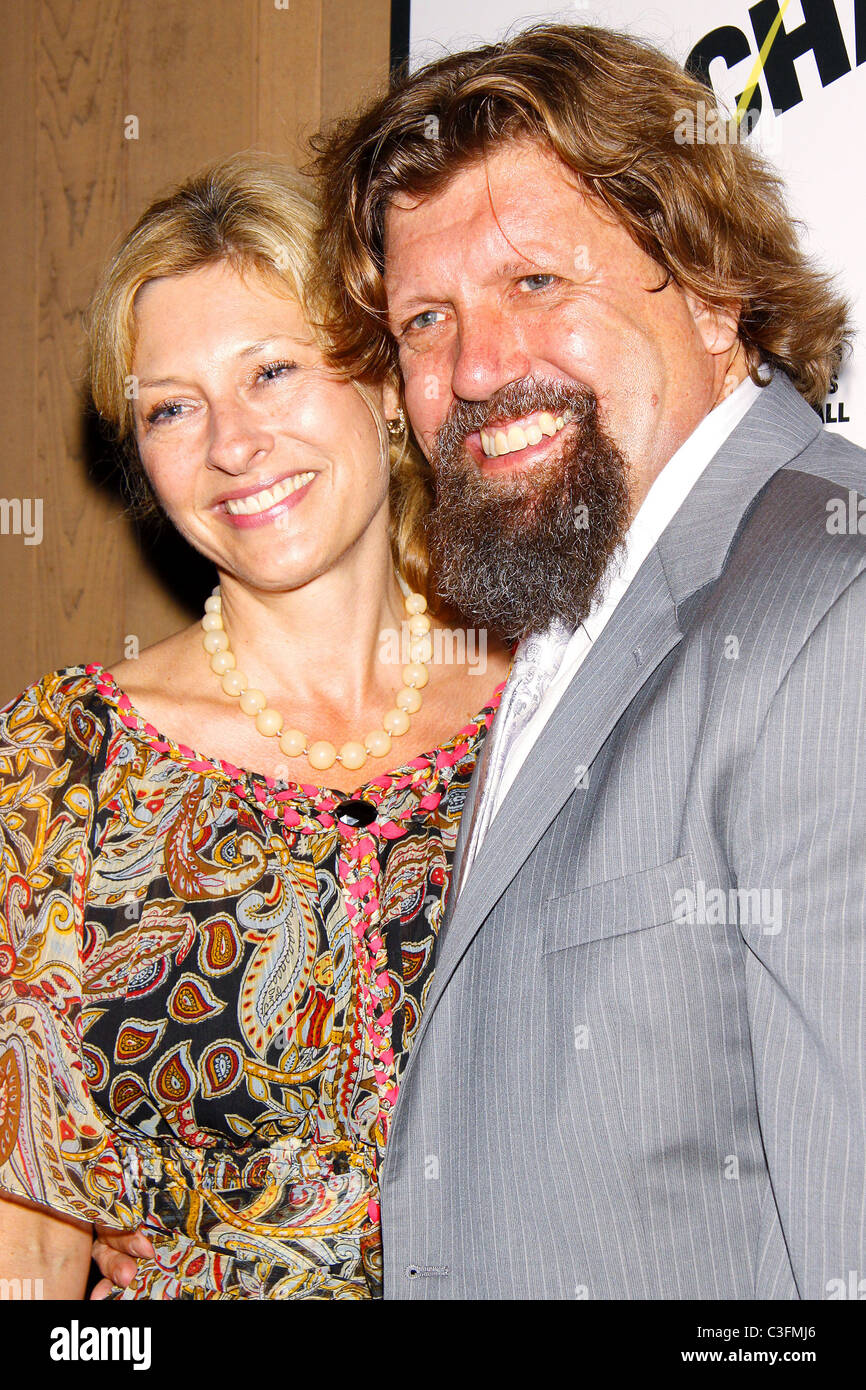 Oskar Eustis and his wife Lori Opening Night of 'The Bacchae' at the Delacorte Theater in Central Park New York Stock Photo
