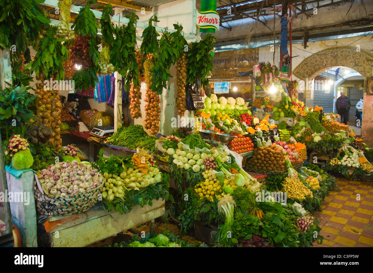 Fresh produce inside covered markets outside Medina old town Tangier Morocco northern Africa - Stock Image