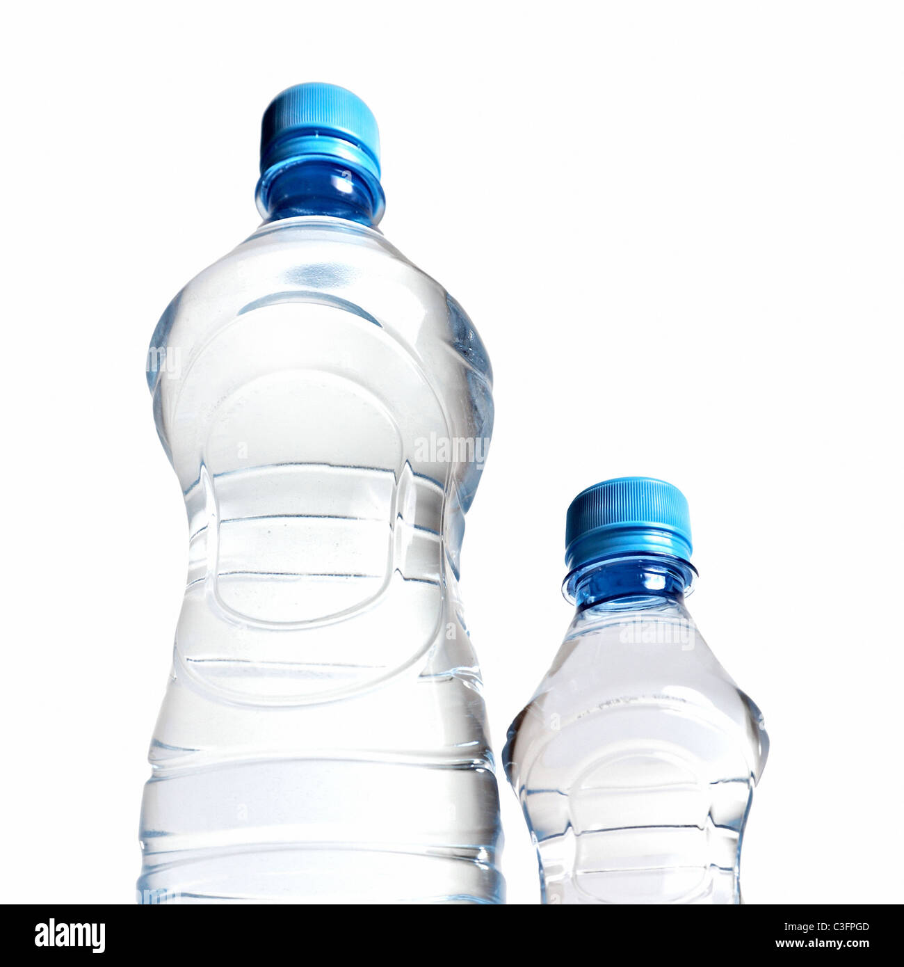 view on the water bottles from below - Stock Image