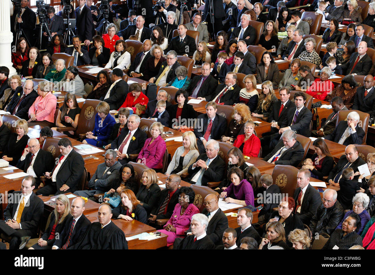 Overview of attendees which included elected officials and family on the first day of the 82nd Texas Legislature - Stock Image