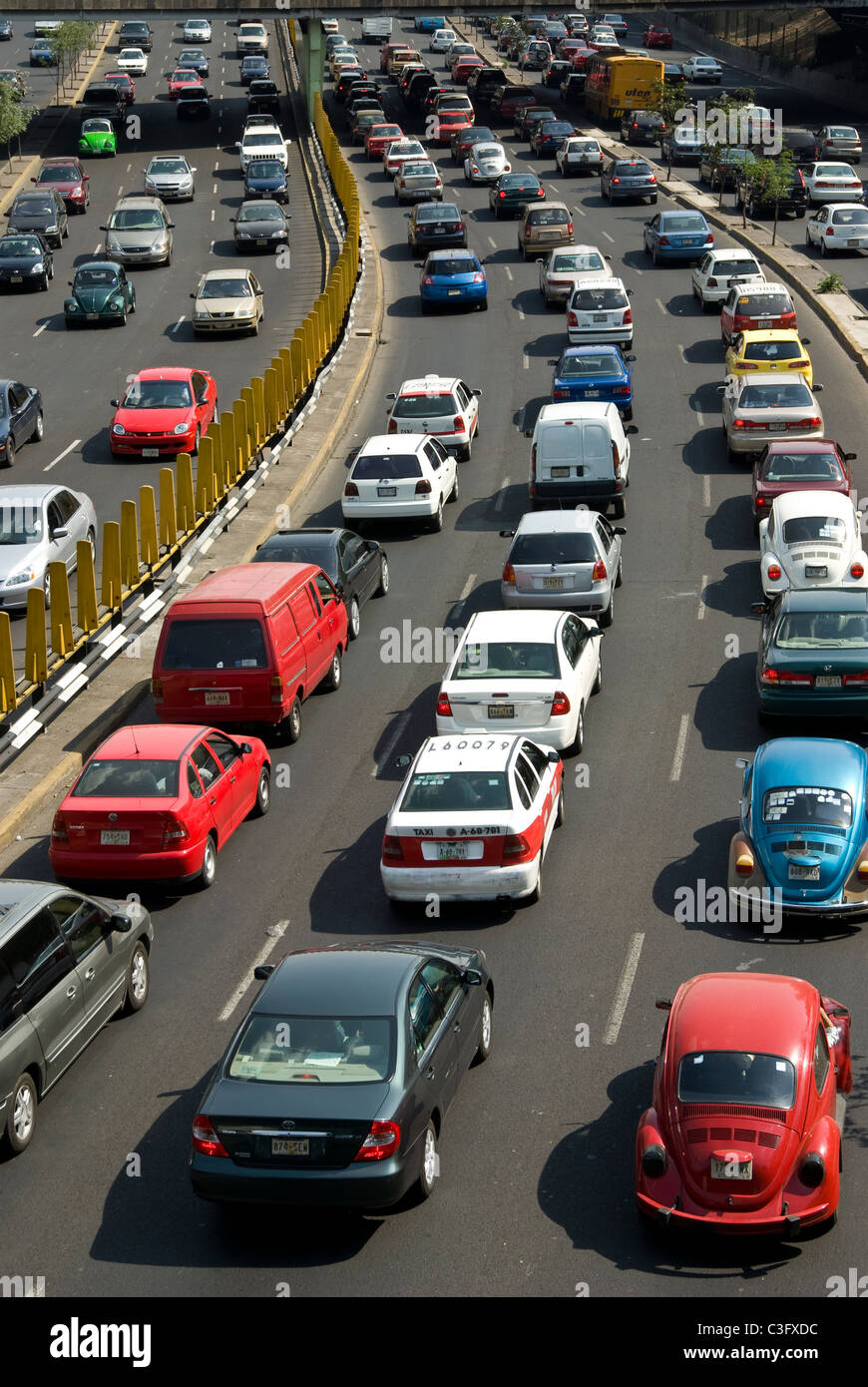 Mexico.Mexico city . Road traffic in the Circuito interior with Paseo de La Reforma. - Stock Image