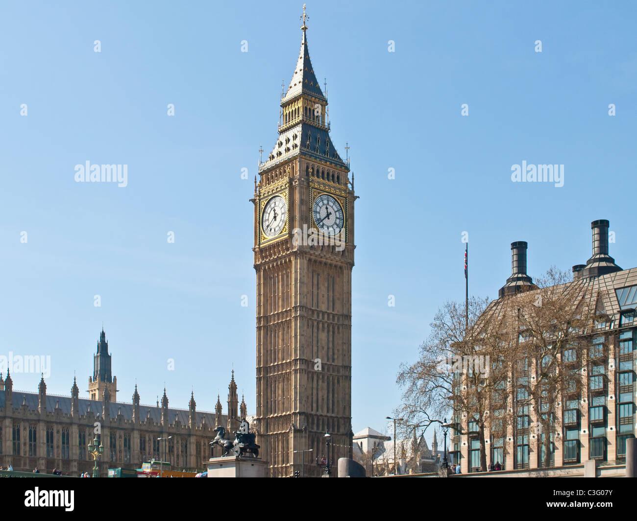 Big Ben and Portcullis House Westminster London UK - Stock Image