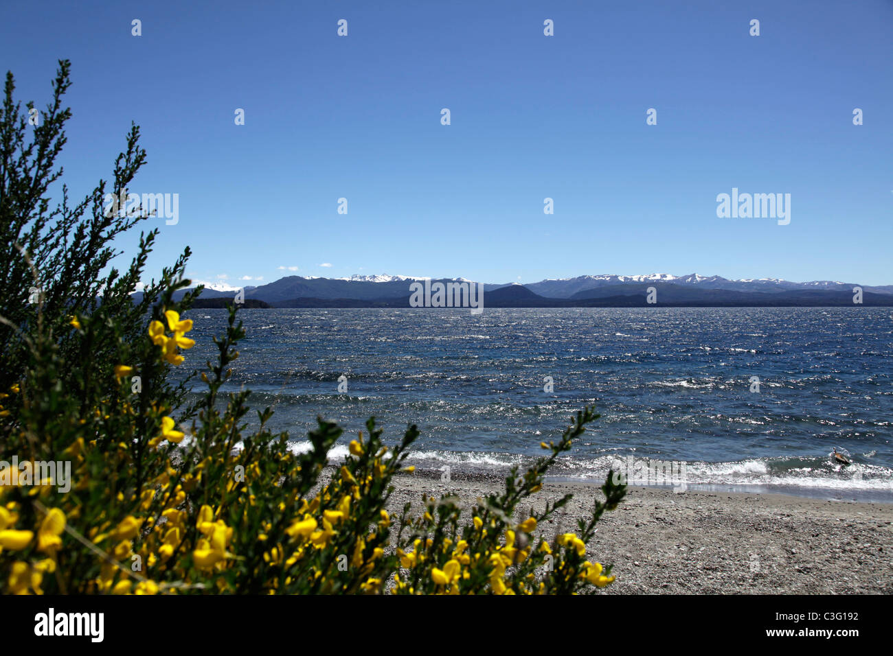 View of Lake Nahuel Huapi from San Carlos de Bariloche, Patagonia, Argentina, South America. - Stock Image