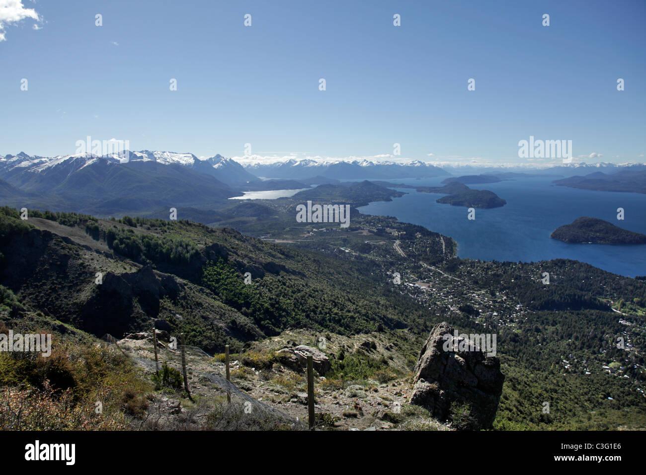 View of San Carols de Bariloche and Lake Nahuel Huapi, from Cerro Otto, Patagonia, Argentina, South America. - Stock Image