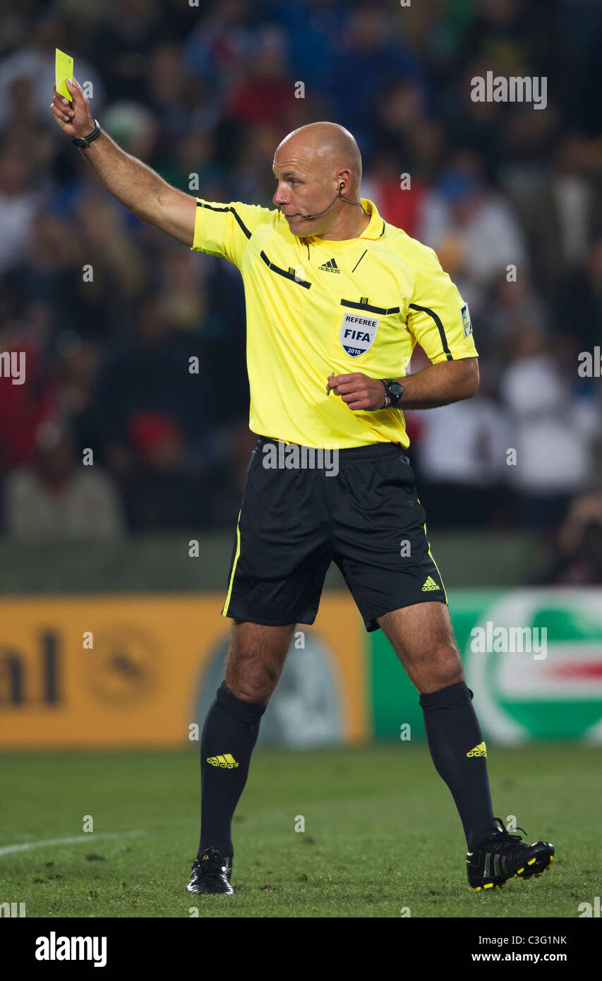e491cf610 Referee Howard Webb issues a yellow card caution to Slovakia goalkeeper Jan  Mucha during a World Cup match - Italy v. Slovakia