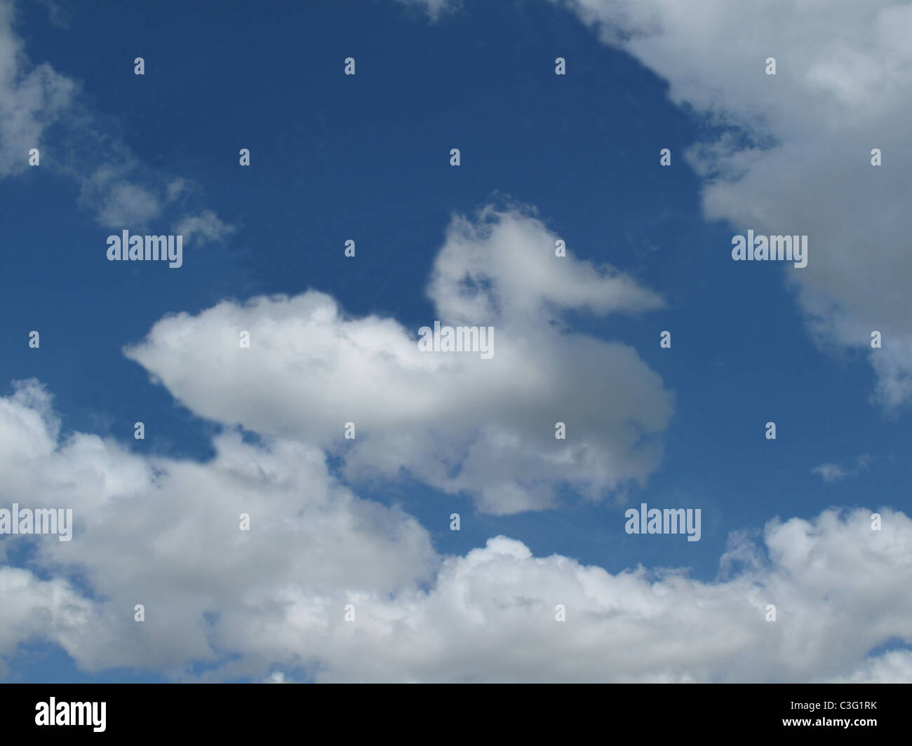 Duck shaped cloud in a blue sky - Stock Image