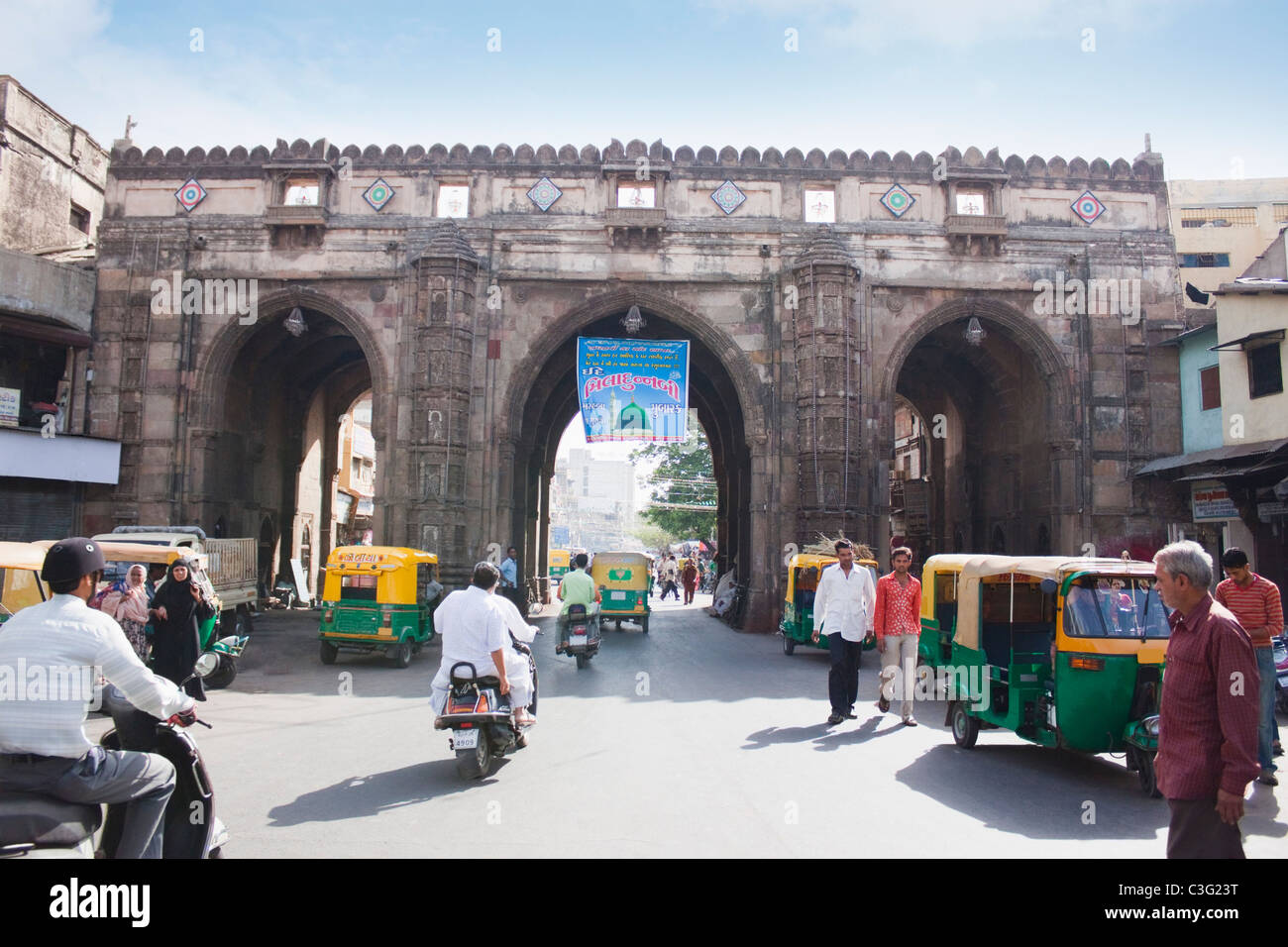 Historic gateway in a city, Teen Darwaja, Ahmedabad, Gujarat, India - Stock Image