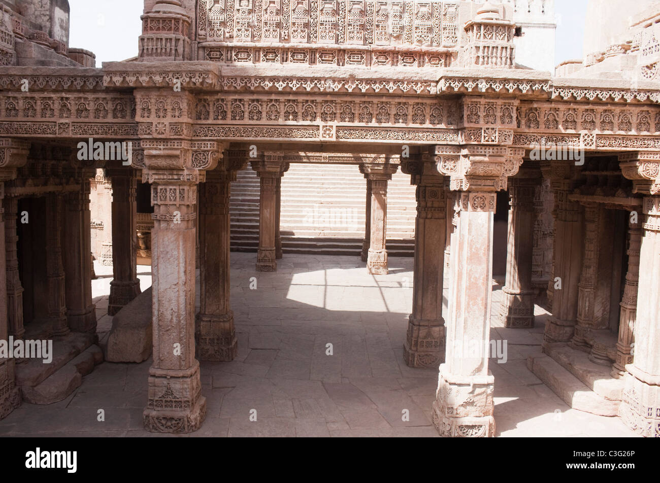Architectural details of a building, Rani ki Vav, Patan, Ahmedabad, Gujarat, India - Stock Image