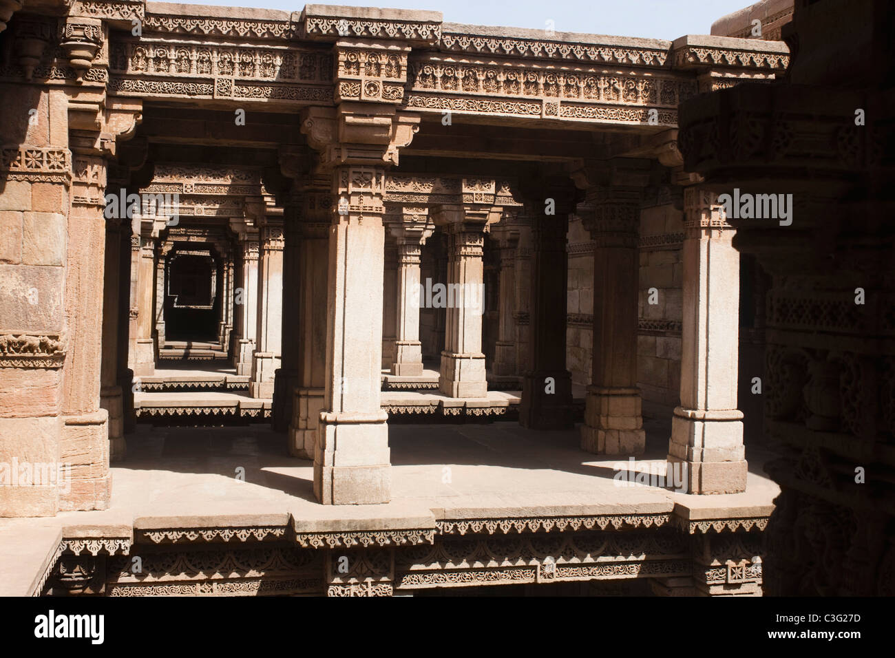 Architectural details of a building, Adalaj Vav, Ahmedabad, Gujarat, India - Stock Image