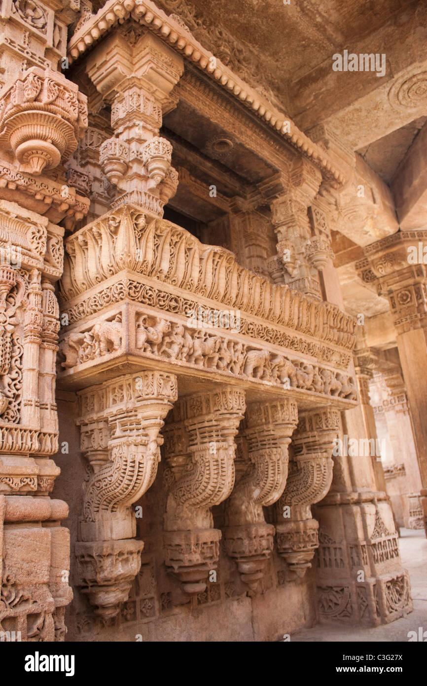 Details of carvings, Adalaj Vav, Ahmedabad, Gujarat, India - Stock Image