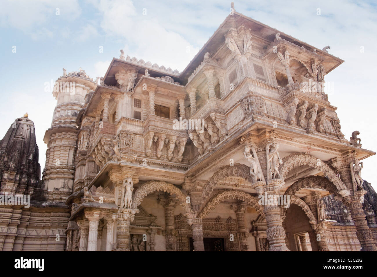Low angle view of a temple, Swaminarayan Akshardham Temple, Ahmedabad, Gujarat, India - Stock Image