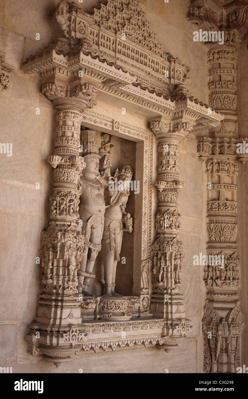 Details of carving on a column in a temple, Swaminarayan Akshardham Temple, Ahmedabad, Gujarat, India - Stock Image