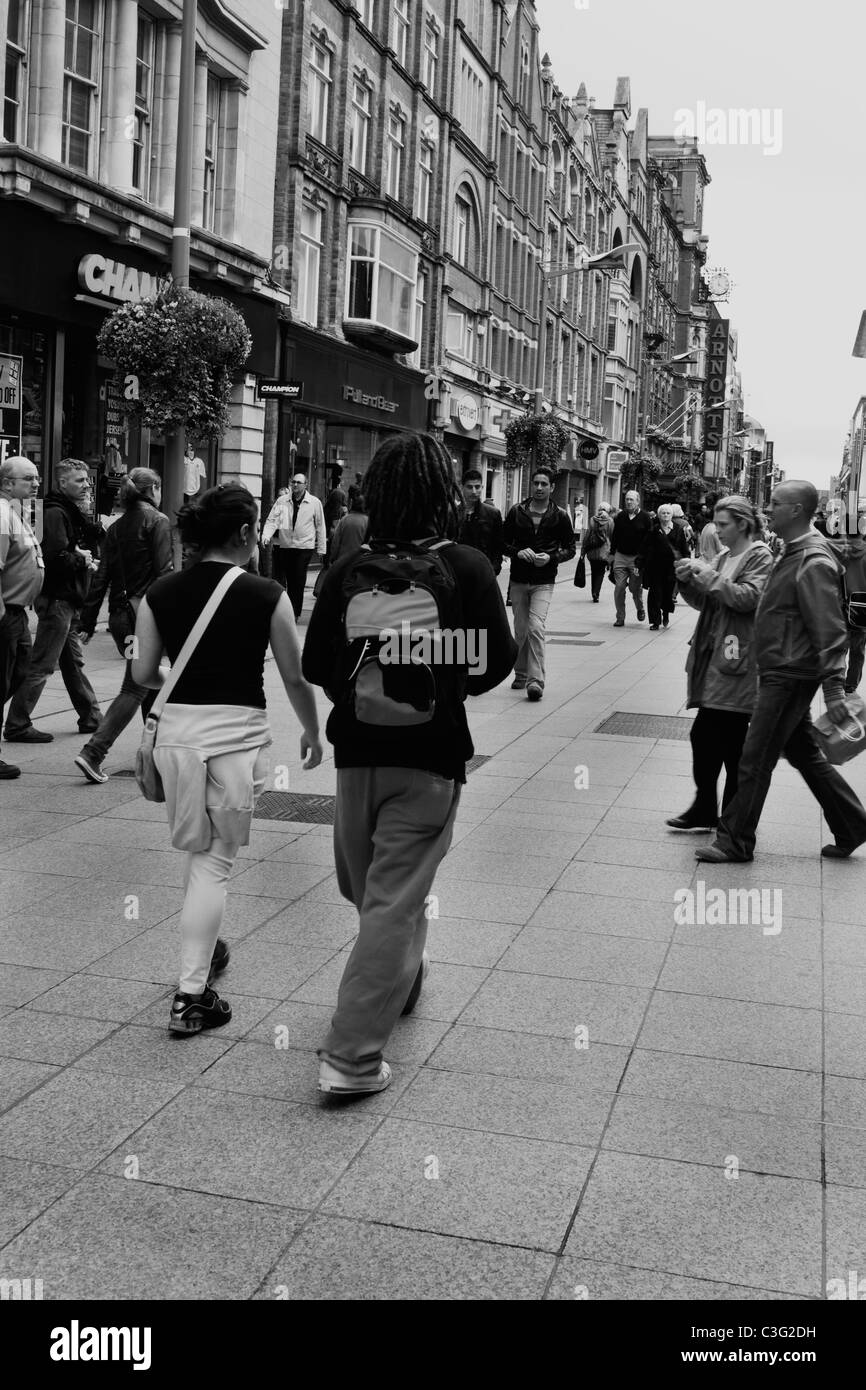 People on the street in a market, Dublin, Republic of Ireland - Stock Image