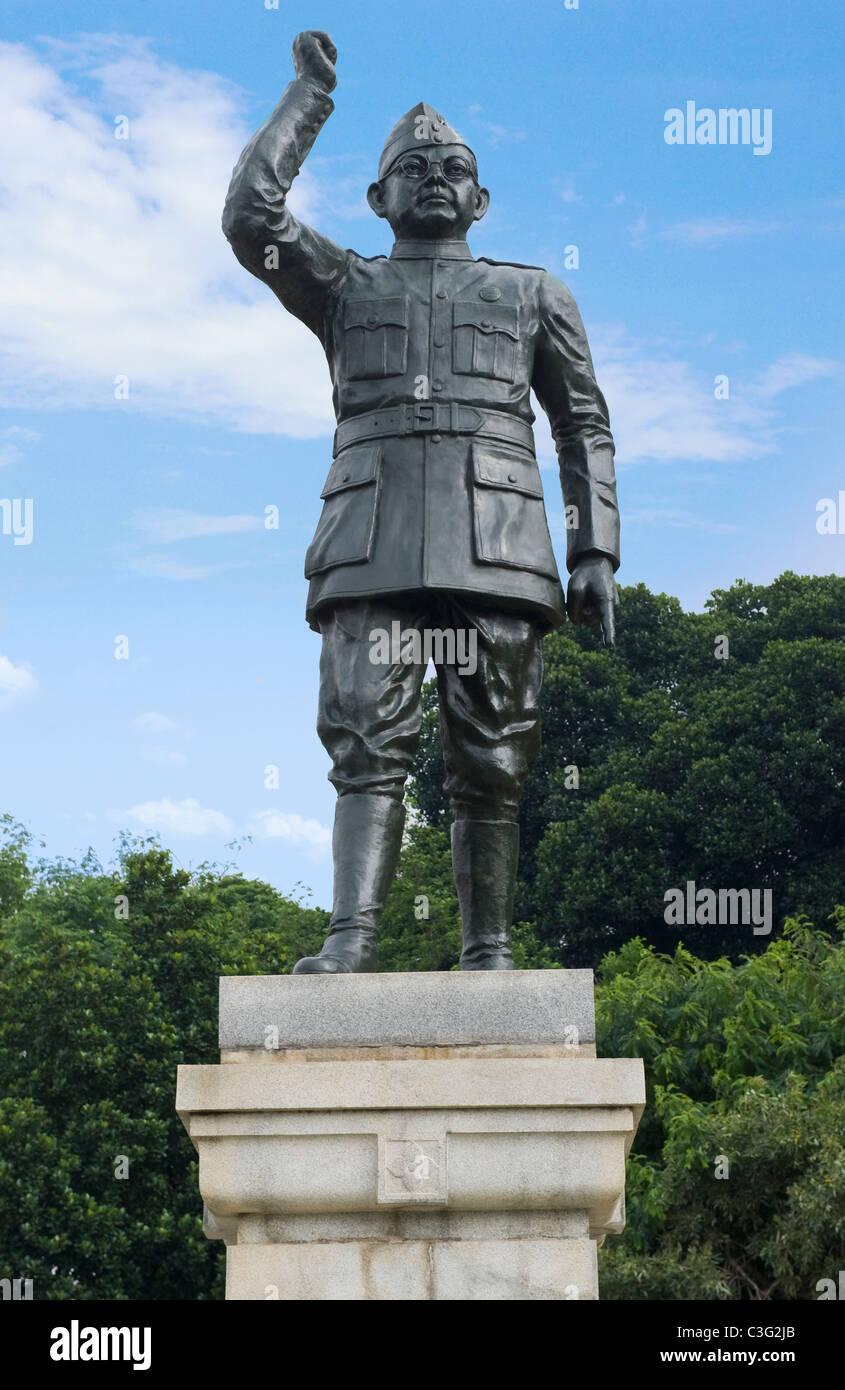 Low angle view of a statue of Subhas Chandra Bose, Bangalore, Karnataka, India - Stock Image
