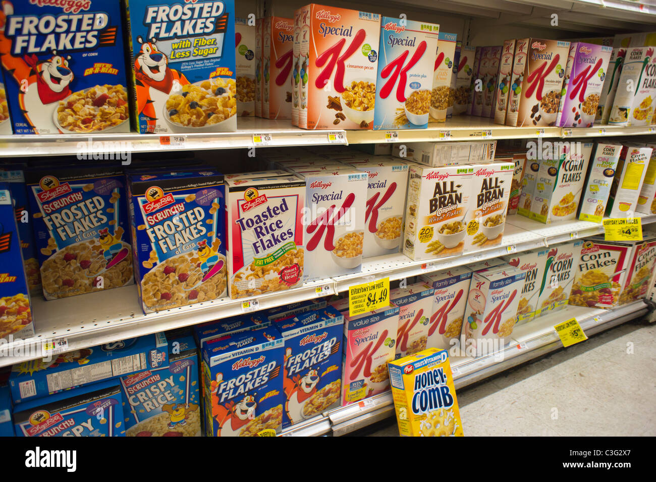 boxes of kellogg s breakfast cereals with generic brands mixed on