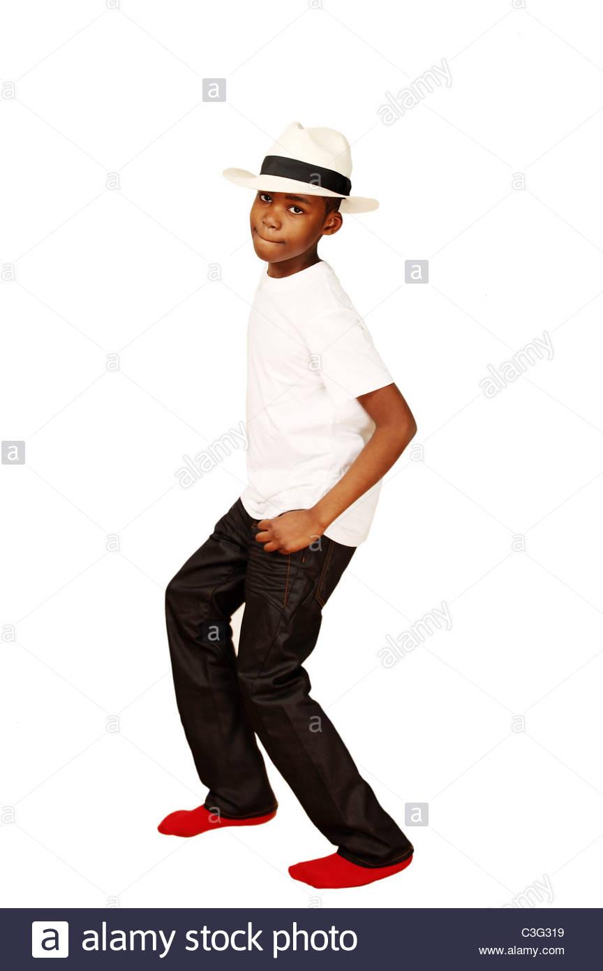 Dancing african boy - Stock Image