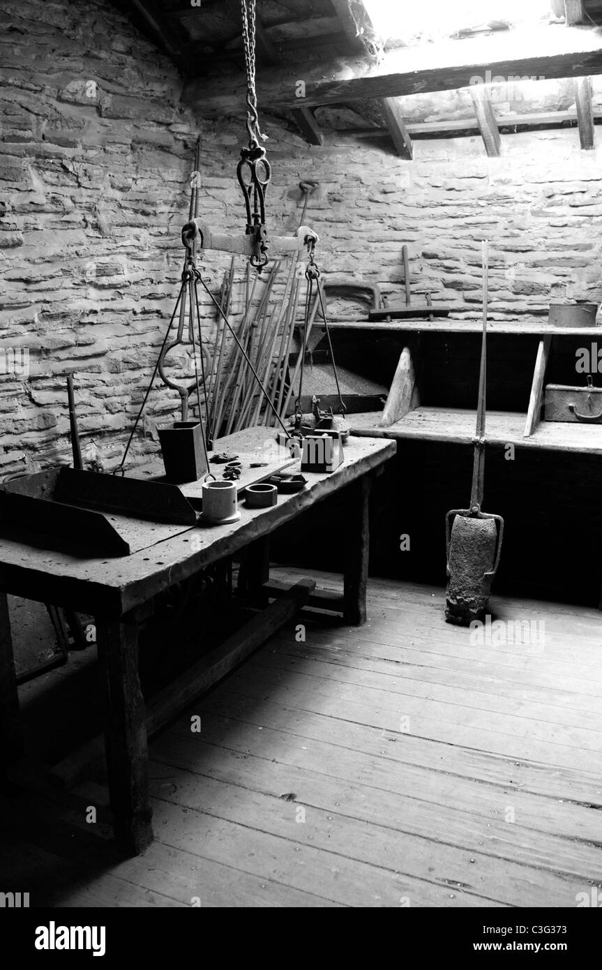 Restored workshop, Abbeydale hamlet, Sheffield, South Yorkshire - Stock Image