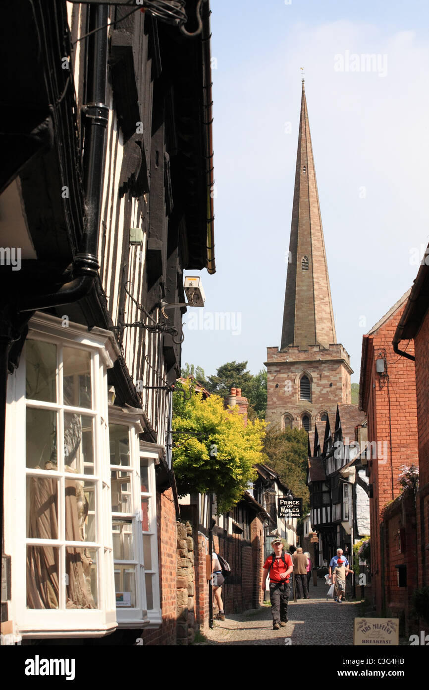 Church Lane Ledbury with people walking towards the camera, Herefordshire, England, UK - Stock Image