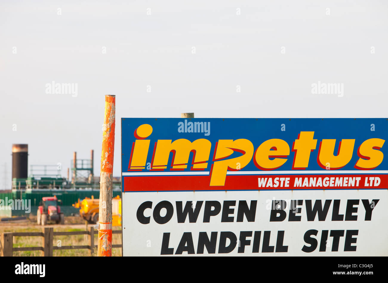 Cowpen Bewley landfill site in Billingham, Teeside, UK, taps off methane from the decomposition of oraganic waste - Stock Image