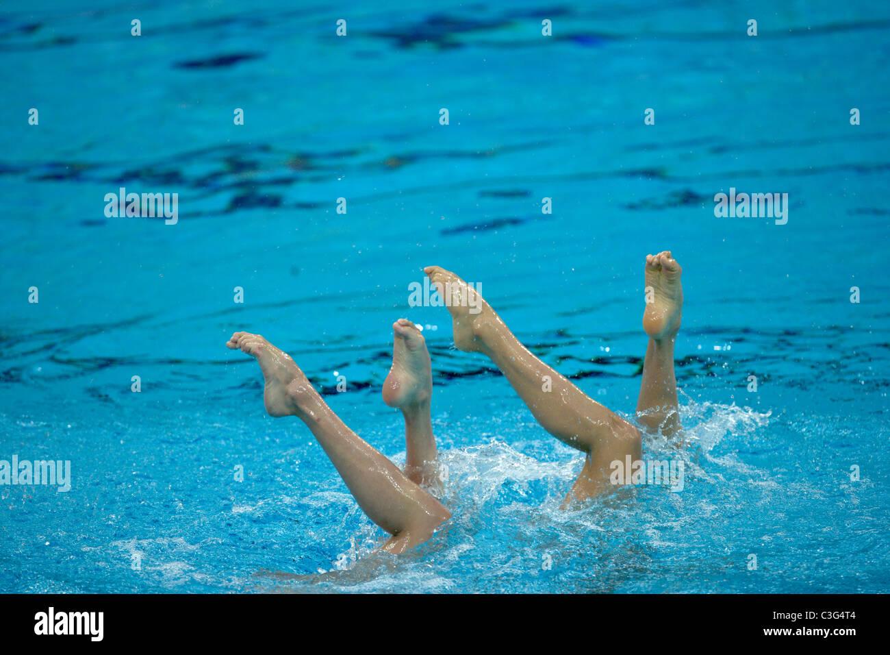 Competitors in Duet Synchronized Swimming at the 2008 Olympic Summer Games, Beijing, China. - Stock Image