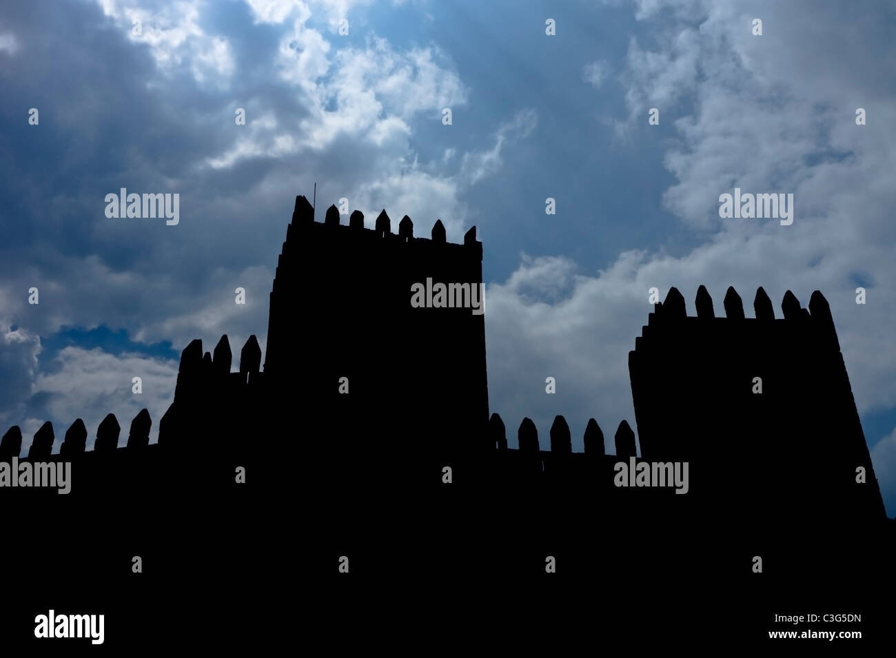 Silhouette of medieval castle - Stock Image