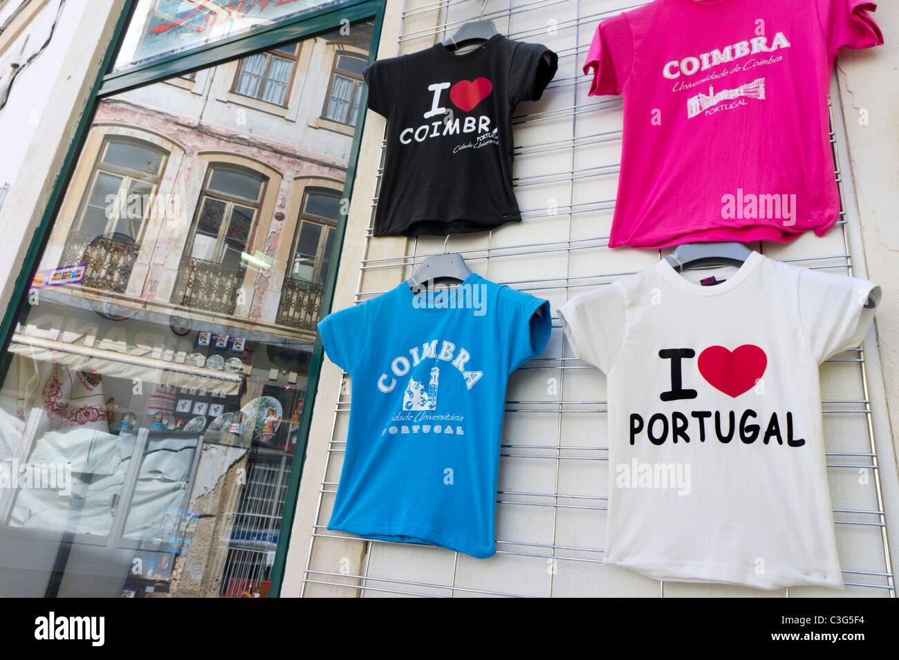 15765ea28 Souvenir t-shirts for sale in a gift shop in Coimbra, Portugal - Stock