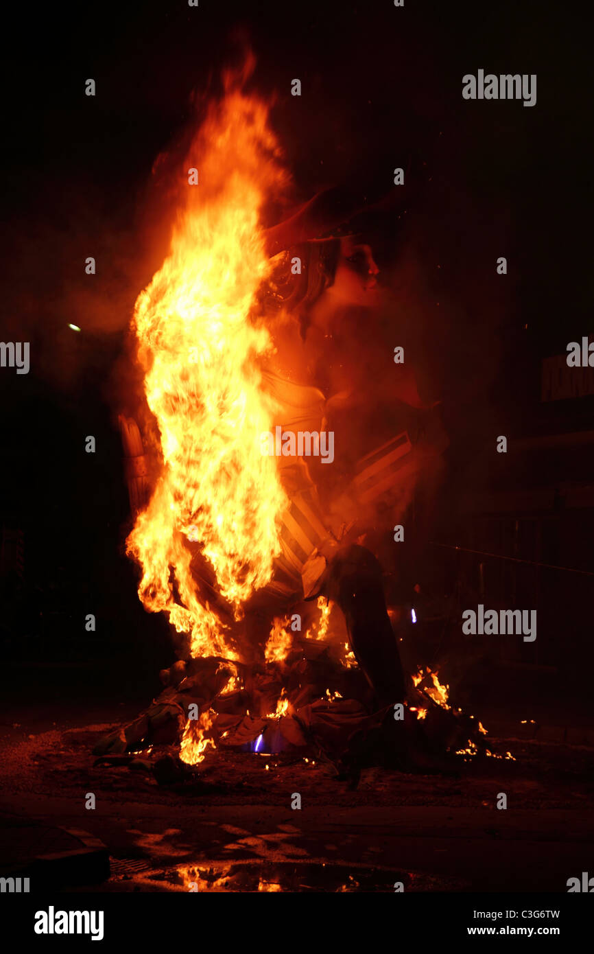 fallas fest fire burning figures in Valencia Spain in march 19th - Stock Image