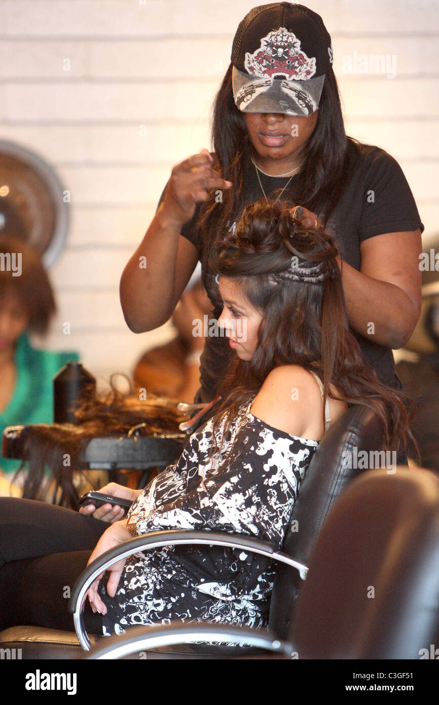 Kourtney Kardashian Gets Hair Extensions At A Salon In West