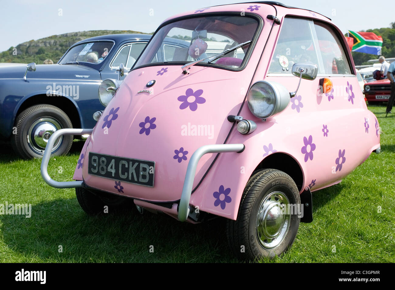 A Funky Flower Power Bmw Isetta Bubble Car In Shocking Pink